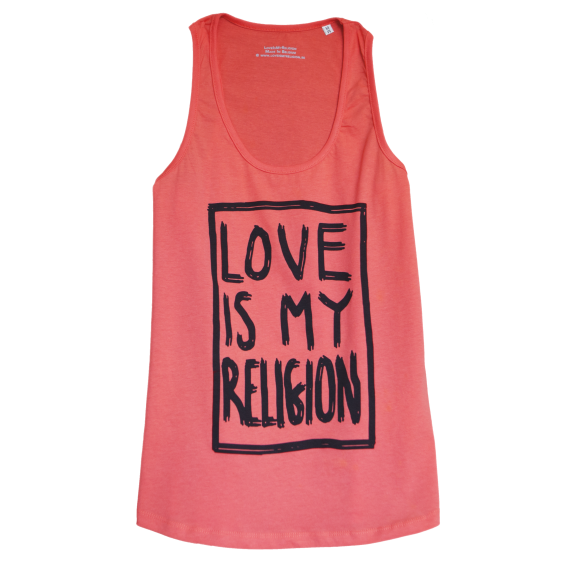 100 % Organic cotton fairwear women Tank Top in Coral, decorated with the love is my religion statement.