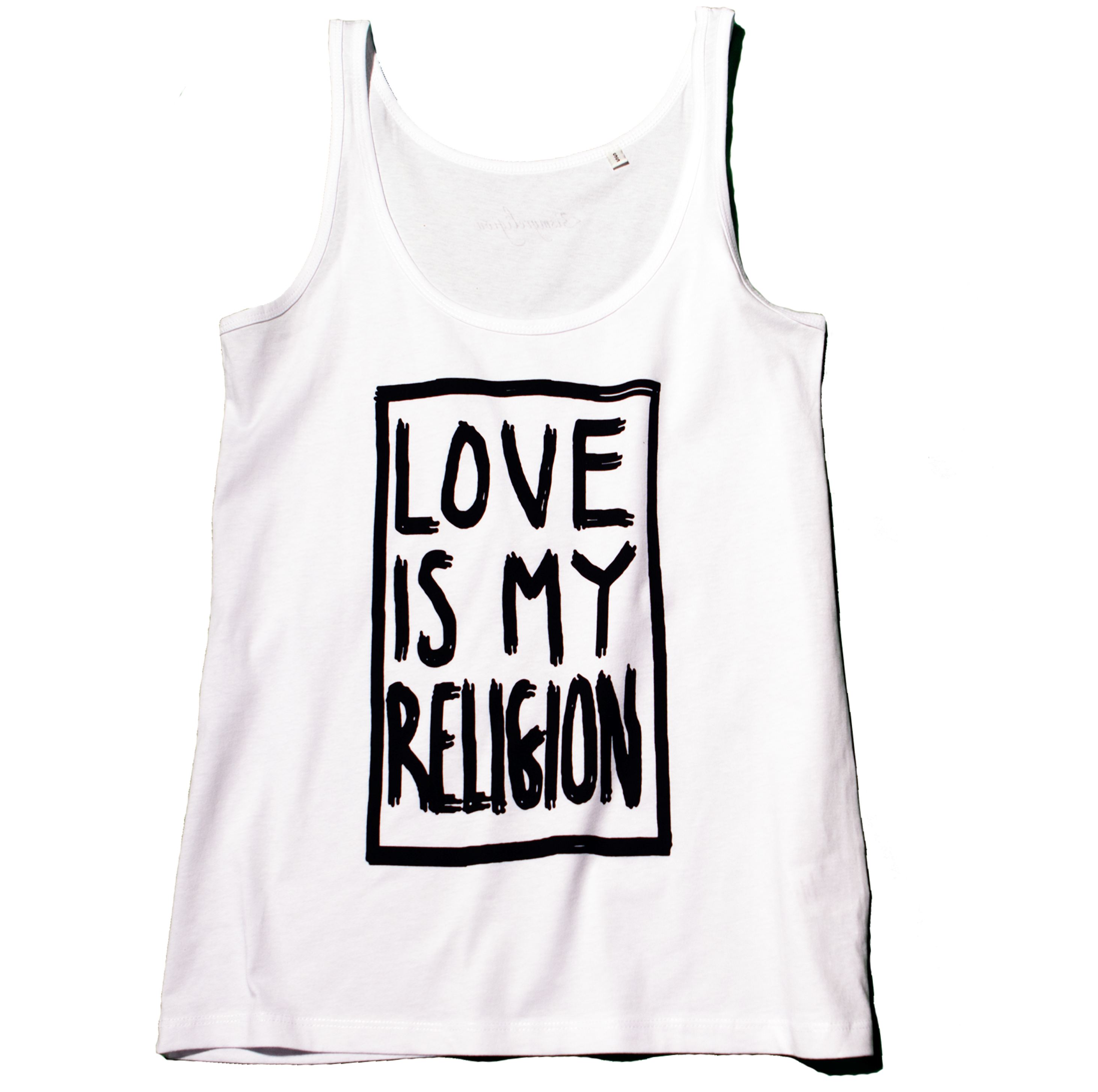 100 % organic cotton white Love Is My Religion tank top with black waterbased print.