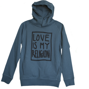 Unisex statement hoodie in blue green - 85% organic cotton / 15% recycled polyester