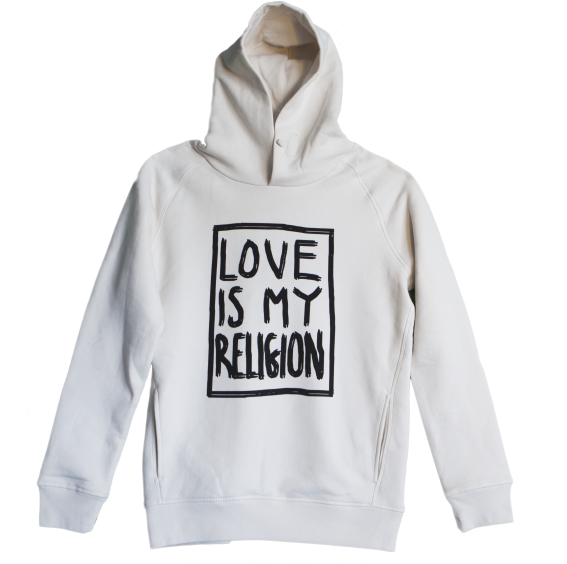 Unisex statement hoodie in vintage white - 85% organic cotton / 15% recycled polyester