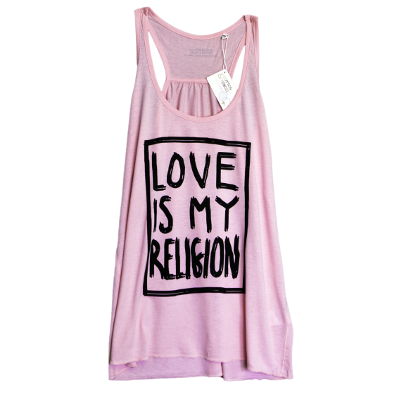 50% organic cotton / 50% tencel pink racerback statement love is my religion tunic