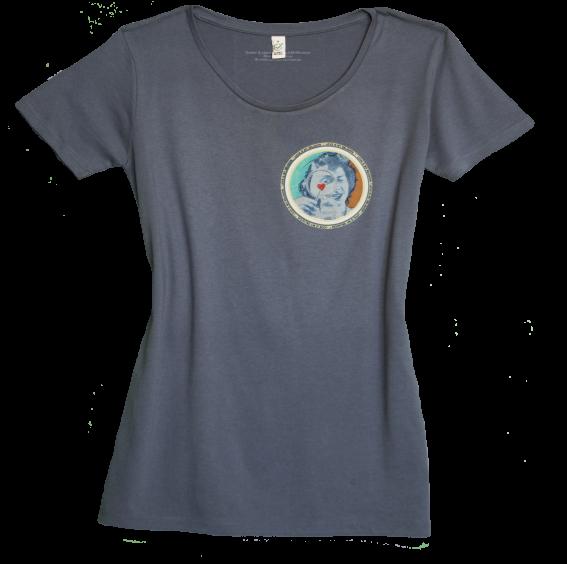 Climate Neutral organic cotton Girl T-shirt in blue jeans. Design by Sammy Slabbinck.