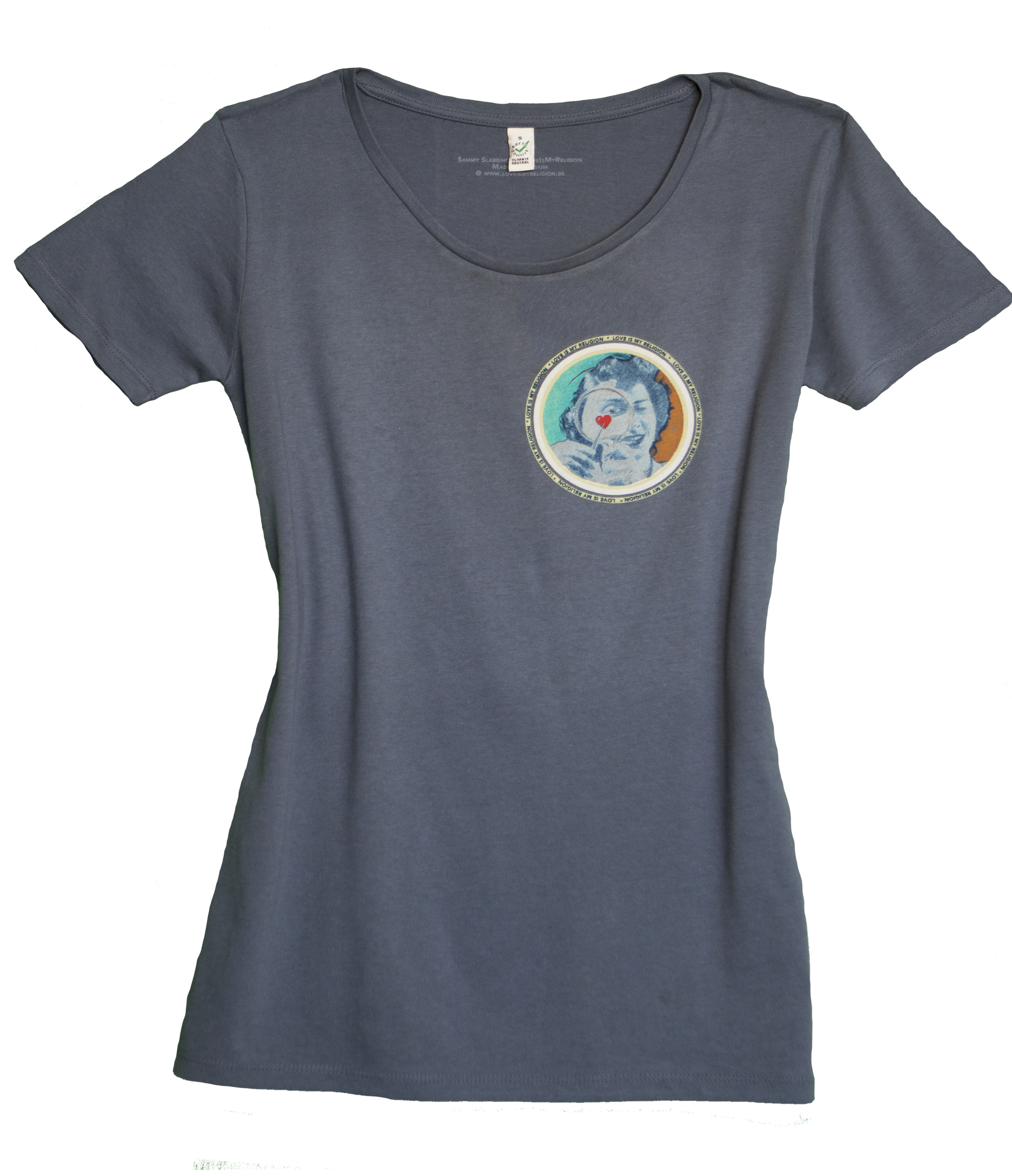 Climate Neutral organic cotton Girl T-shirt in blue jeans. Design by Sammy Slabbinck.