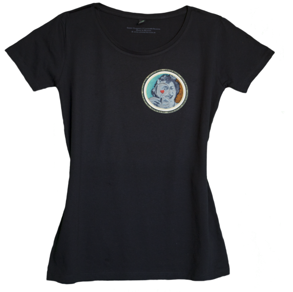 Climate Neutral organic cotton Girl T-shirt in black. Design by Sammy Slabbinck.