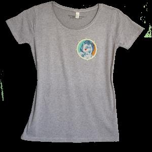 Climate Neutral organic cotton Girl T-shirt in heather grey. Design by Sammy Slabbinck.