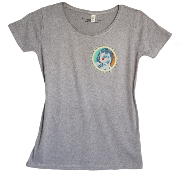 Climate Neutral organic cotton Girl T-shirt in heather grey. Design by Sammy Slabbinck.