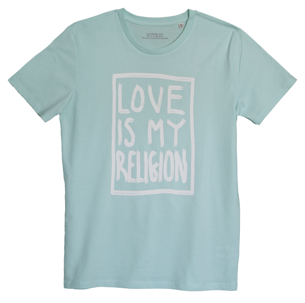 Men's organic cotton carribean blue statement love is my religion T-shirt.