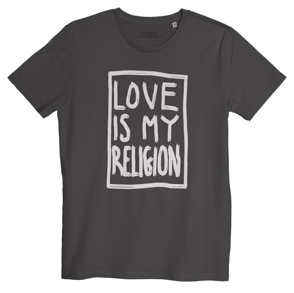 Men's organic cotton anthracite statement love is my religion T-shirt.