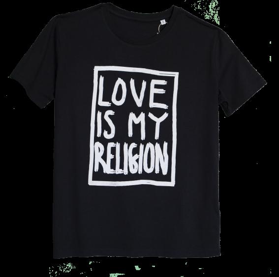 Men's organic cotton black statement love is my religion T-shirt.