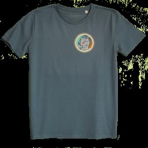 Ocean Blue Men's T-shirt with discharge screen print of design by collage artist Sammy Slabbinck