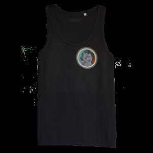 Black Men's sleeveless shirt with discharge screen print of design by collage artist Sammy Slabbinck