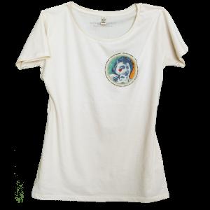 Climate Neutral organic cotton Girl T-shirt in white lime. Design by Sammy Slabbinck.