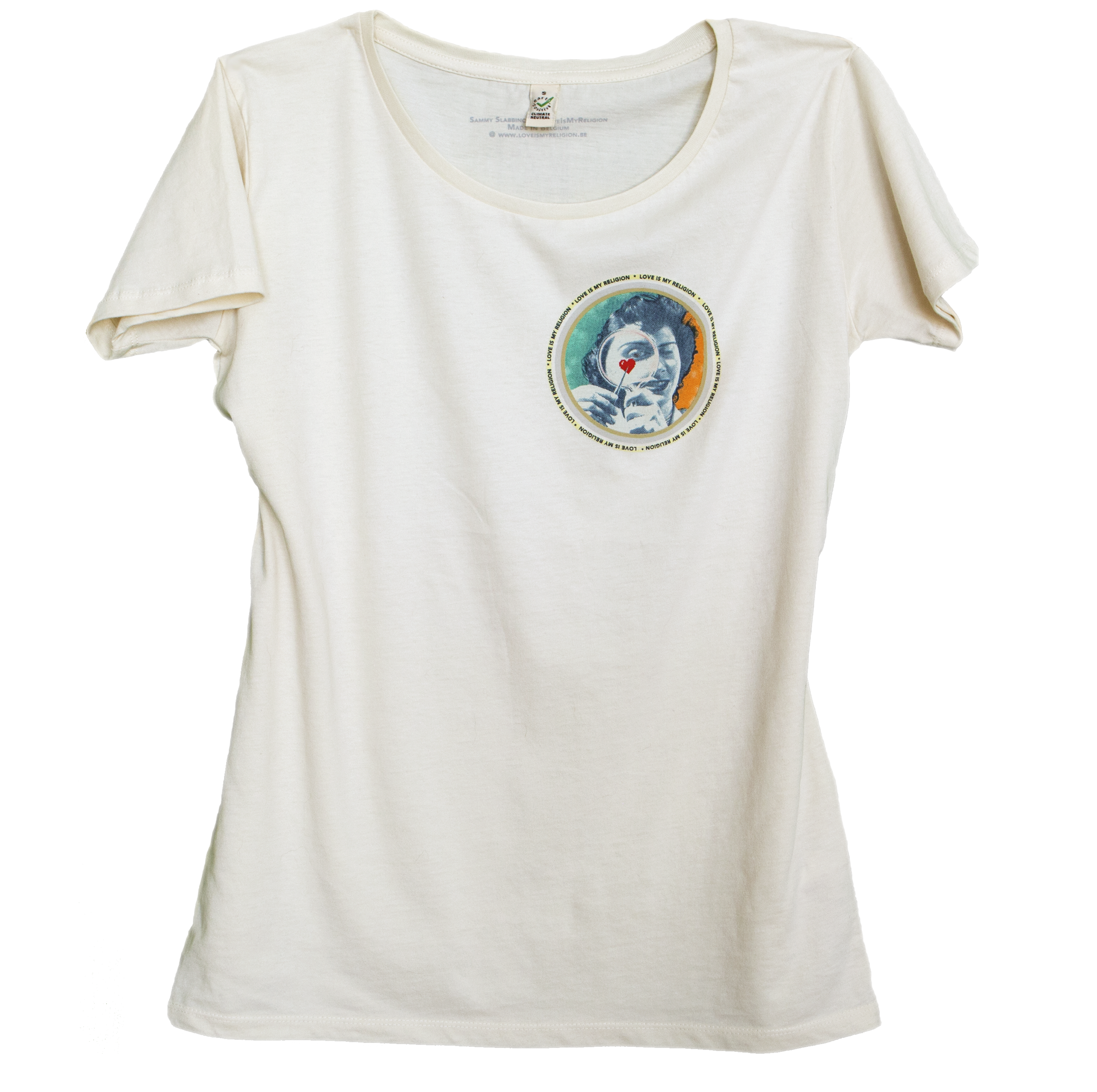 Climate Neutral organic cotton Girl T-shirt in white lime. Design by Sammy Slabbinck.