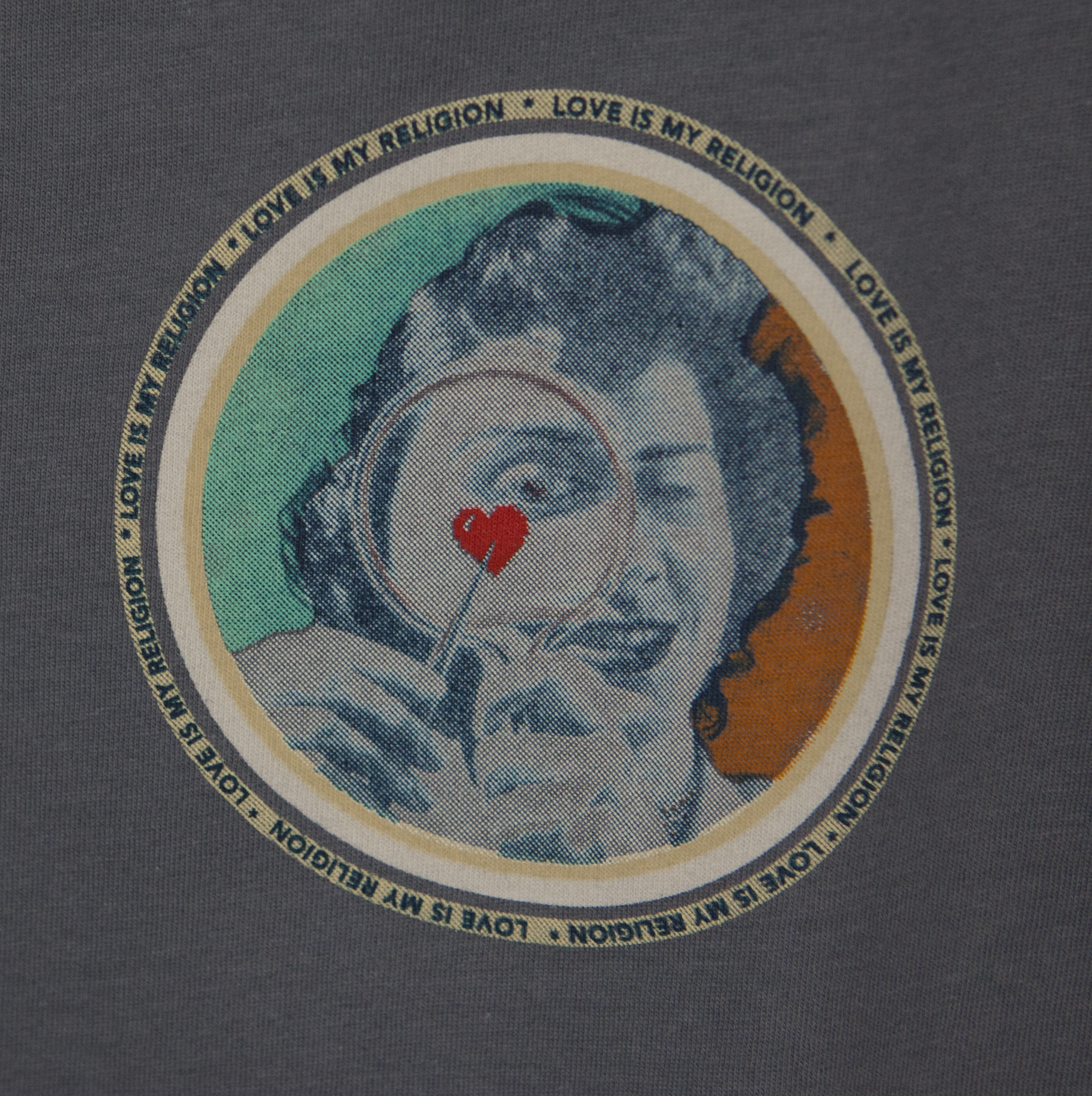 Sammy Slabbinck Heart Print on charcoal 100% organic cotton in discharge print.