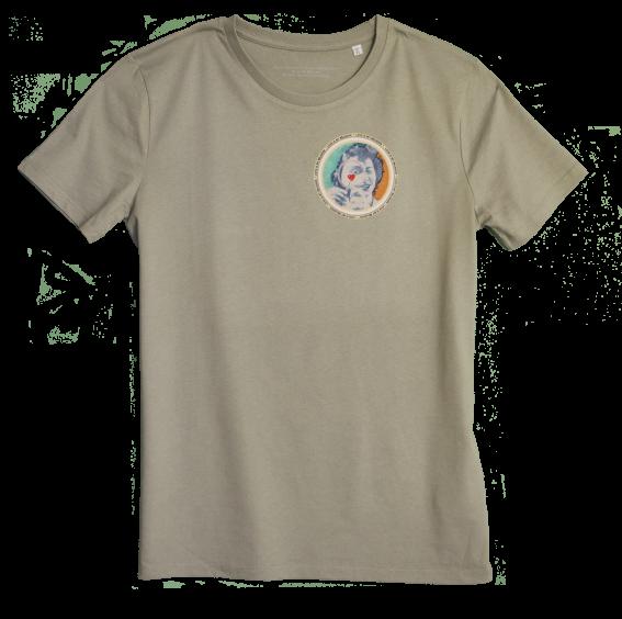 Light khaki Men's T-shirt with discharge screen print of design by collage artist Sammy Slabbinck
