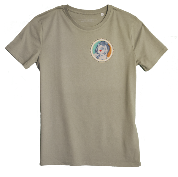 Light khaki Men's T-shirt with discharge screen print of design by collage artist Sammy Slabbinck