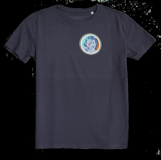 Navy Blue Men's T-shirt with discharge screen print of design by collage artist Sammy Slabbinck