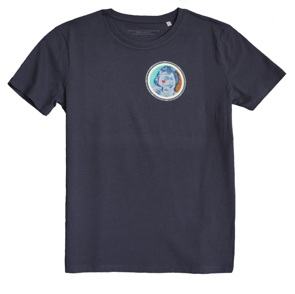 Navy Blue Men's T-shirt with discharge screen print of design by collage artist Sammy Slabbinck