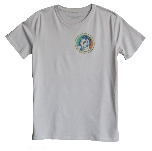 Mother of Pearl Men's T-shirt with discharge screen print of design by collage artist Sammy Slabbinck
