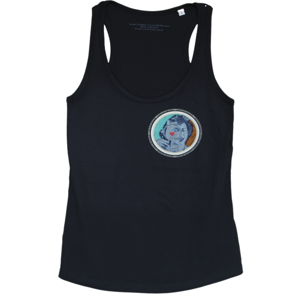 Organic cotton Girl's Tank Top in Black, design by Sammy Slabbinck collage artist.