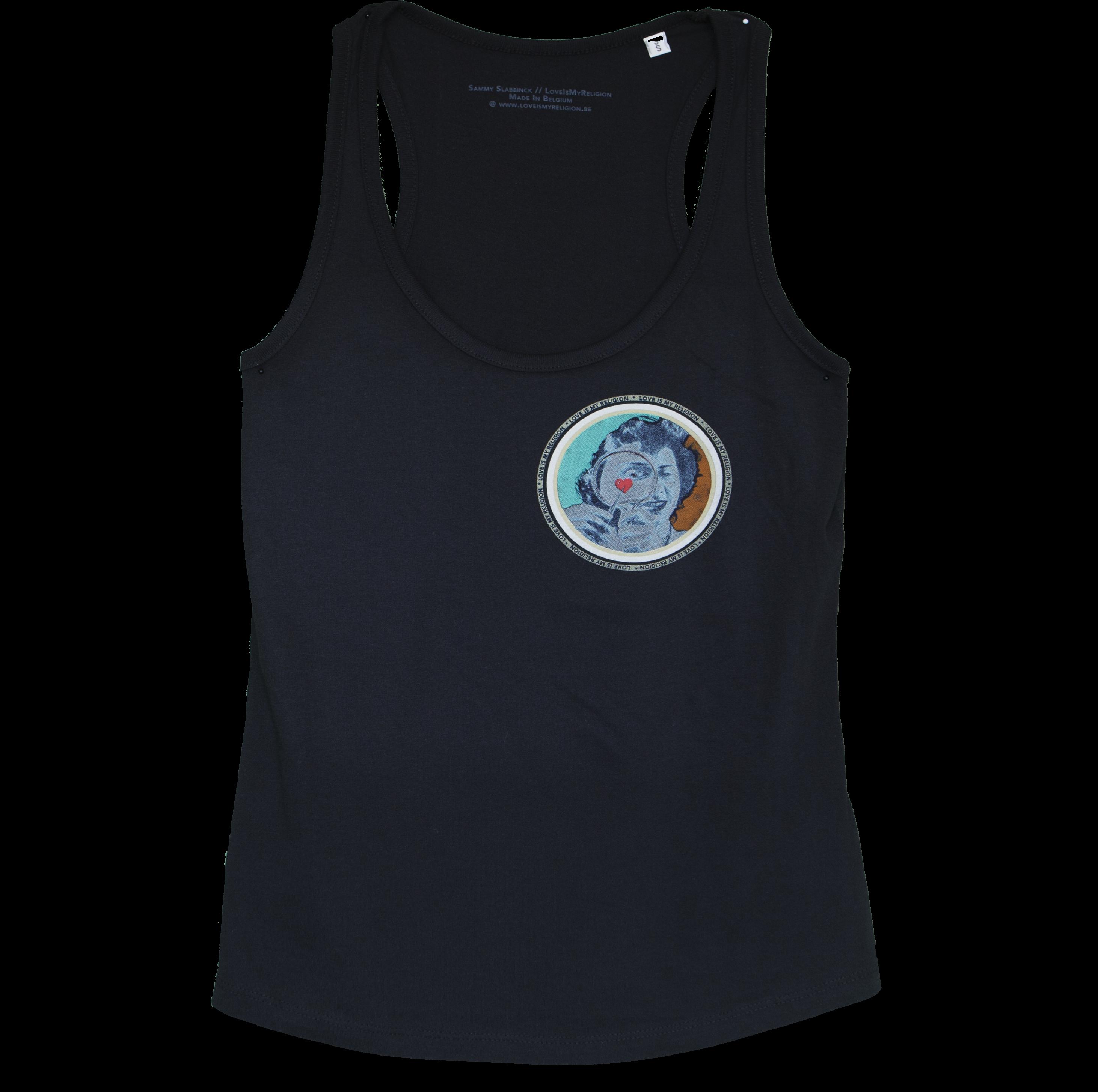 Organic cotton Girl's Tank Top in Black, design by Sammy Slabbinck collage artist.