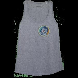 Organic cotton Girl's Tank Top in Heather Grey, design by Sammy Slabbinck collage artist.