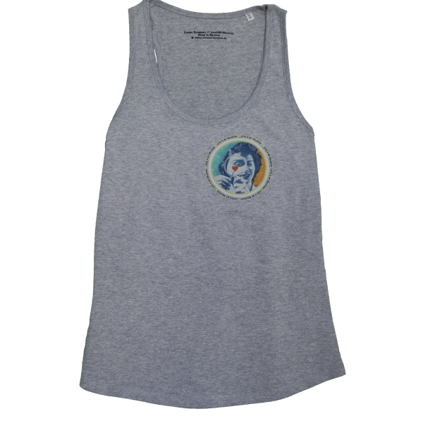 Organic cotton Girl's Tank Top in Heather Grey, design by Sammy Slabbinck collage artist.