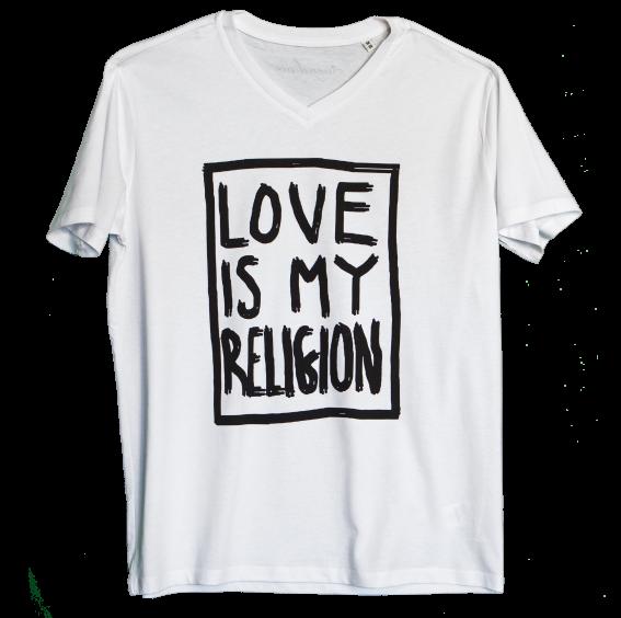 Men's 100% organic cotton white  V-neck statement love is my religion T-shirt.