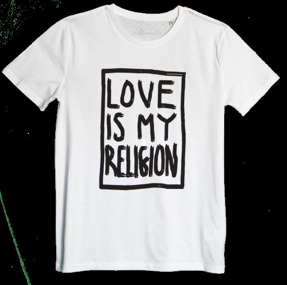 Men's organic cotton white statement love is my religion T-shirt.